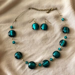 Turquoise Glass Earrings & Necklace